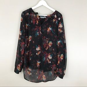 Daniel Rainn Black Floral Sheer Boho Top Shirt